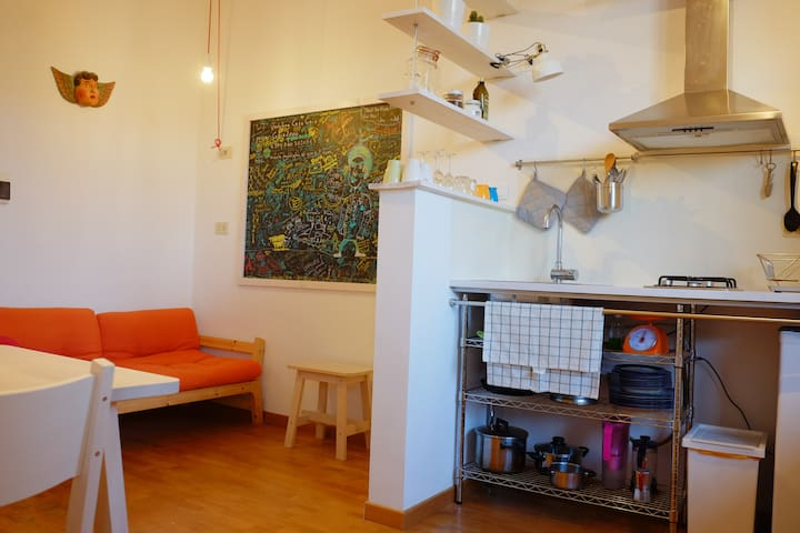 Living with Kitchenette, renewed november 2018, now living and kitchen are separated by a small wall