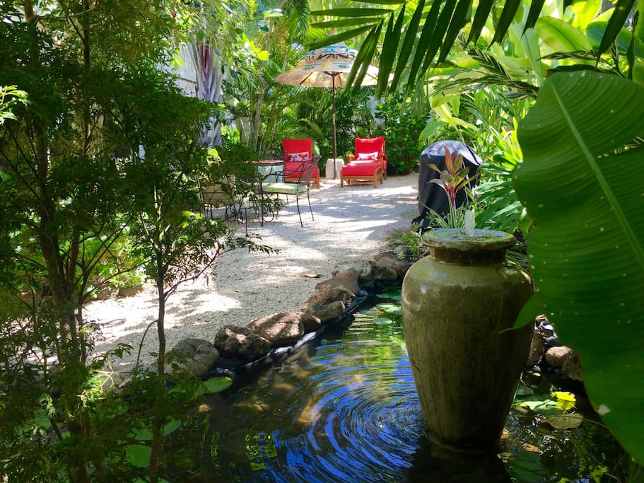 Your private gardens with the new Koi Pond...