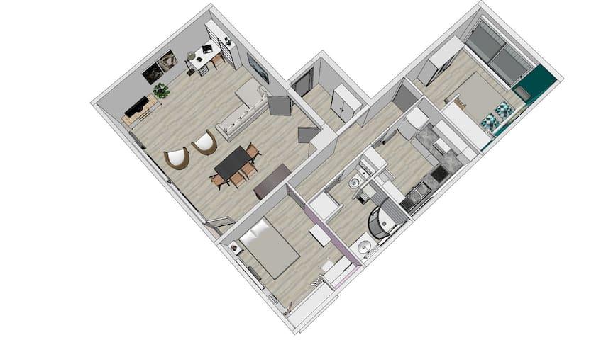 Chambre meublée dans logement cocooning - Joué-lès-Tours - Apartamento