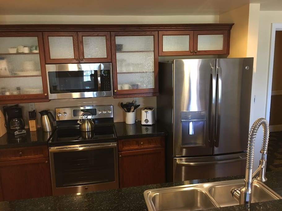 Top end GE stainless steel appliances.