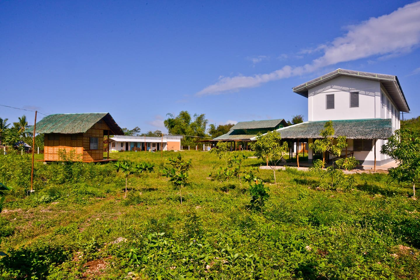 """Our lot. On the left: the """"Nipa Hut."""" On the right: the """"Student House."""" Background: """"Multi-Purpose House"""" (left)  and """"Shadow Roof"""" (center).  All photos by Hans or Richie de Roos © 2016-2019 Photo tours & PhotoShop courses are offered on request!"""