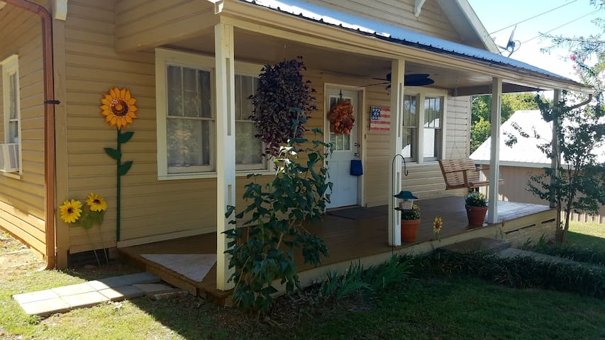 side view with porch swing