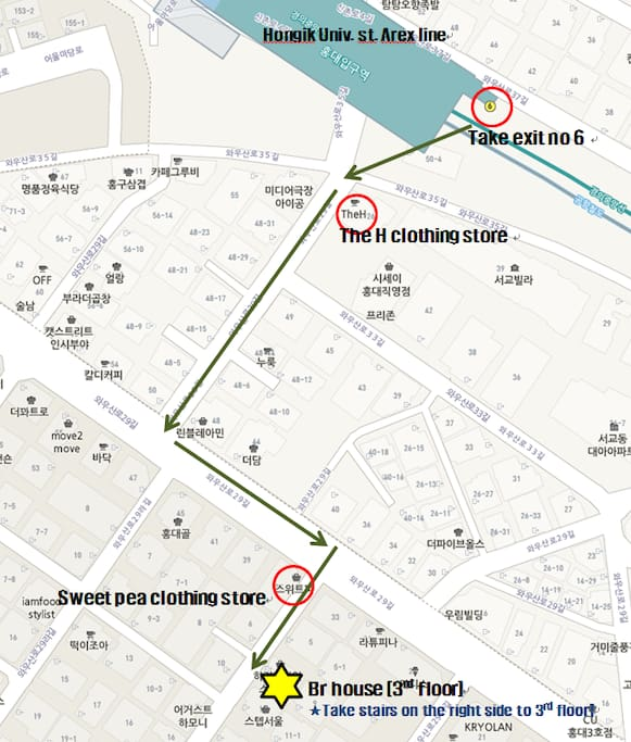3minutes walk from Hongik Univ. st.(Arex line)