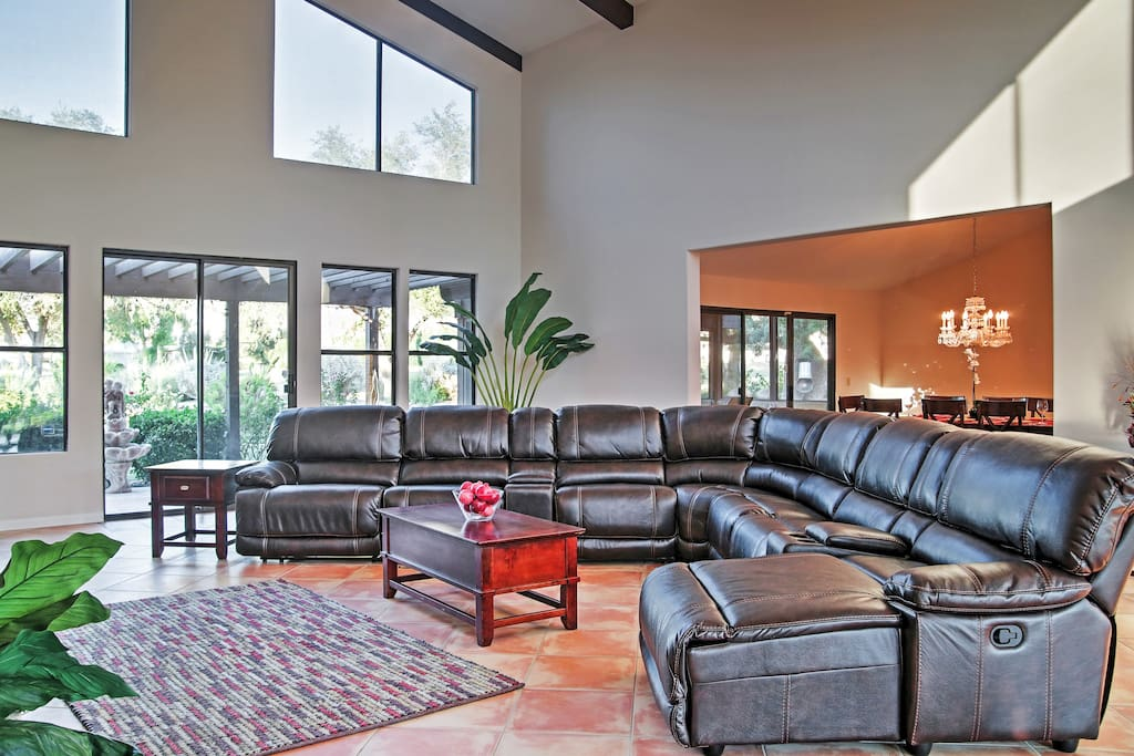 Lounge around on the comfy couches in the living area of the main house.