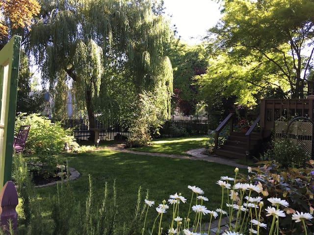 This is my backyard in early summer, Mill Creek runs behind the willow tree. I spend a lot of time out here. It is really beautiful. Recently, I have added a fish pond. Hope you enjoy it as much as I do.