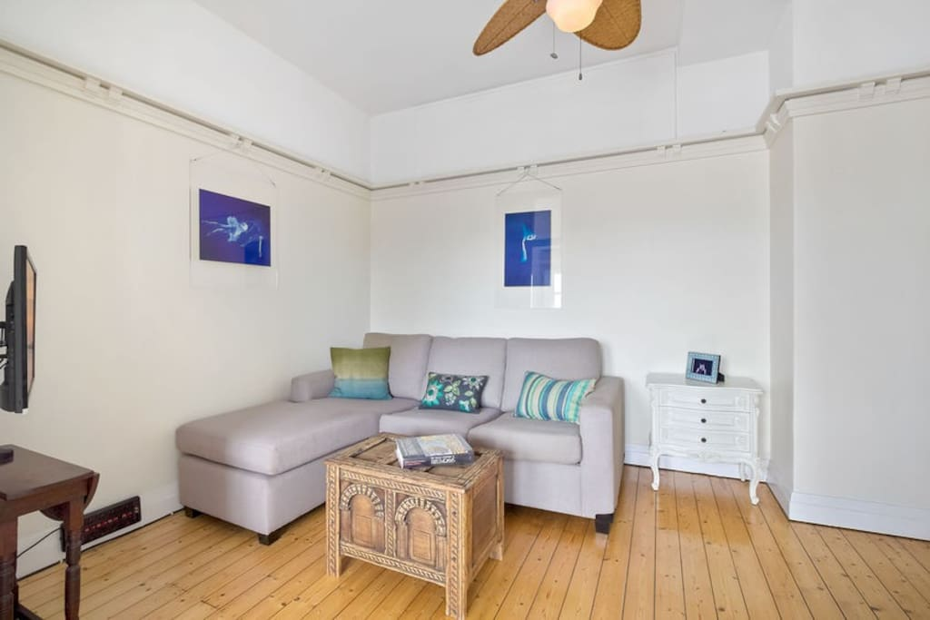 Living room, has Apple TV (Netflix login included!), TV, double sofa bed