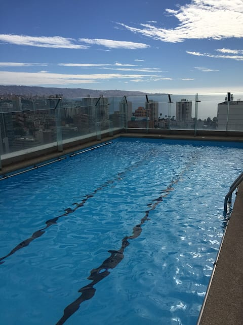 Depto central,1 dormitorio,piscina,viña del mar.