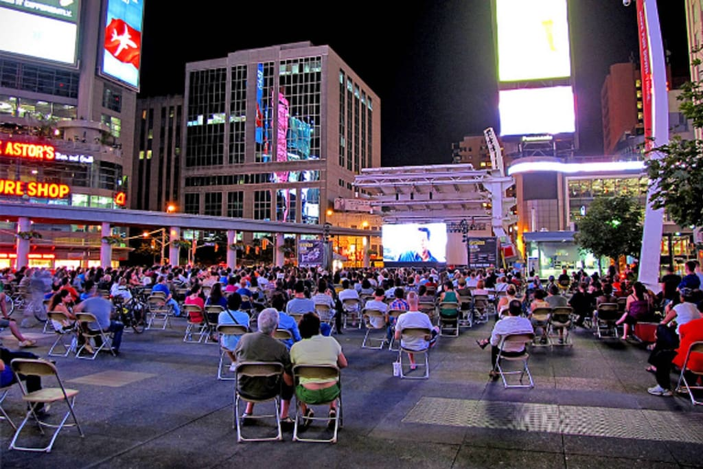 Outdoor movie at Dundas Square