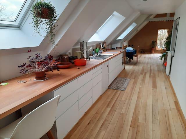 Un spacieux studio sous les toits
