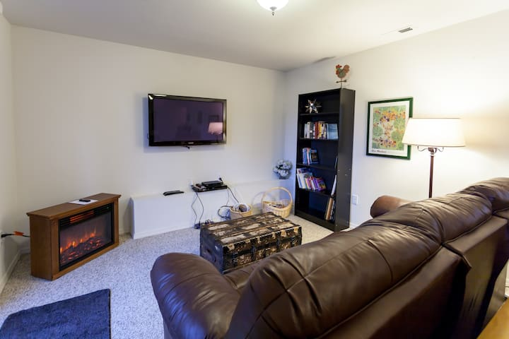 Cable connected HD tv, electric fireplace gives nice heat and ambiance. Selection of books and games in bookshelf.