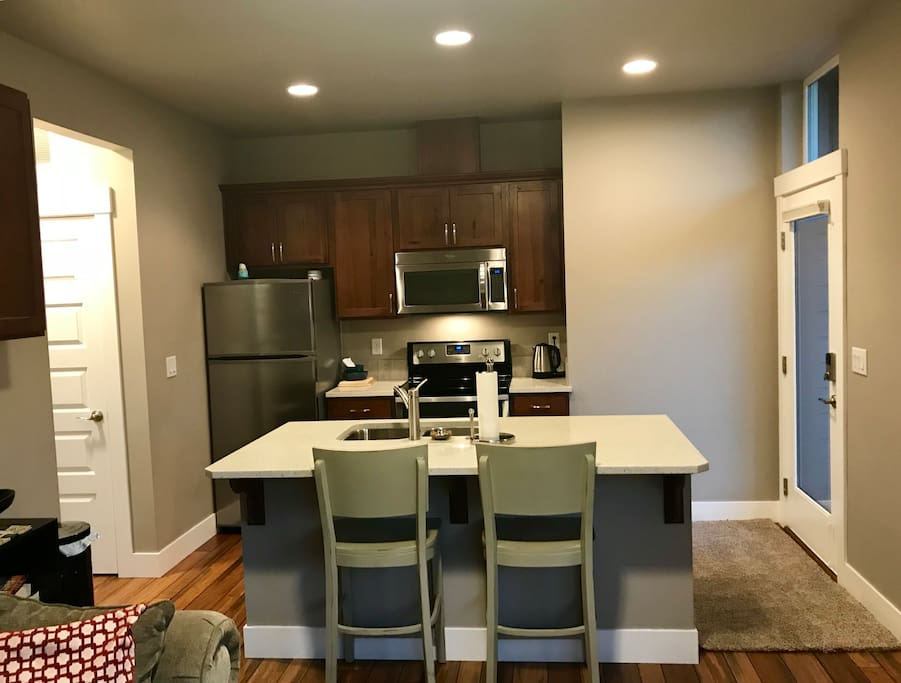 Full kitchen with lots of room to move around.