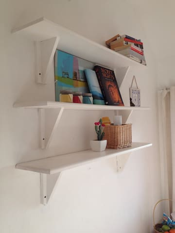 Clean and useful storage with some reading material