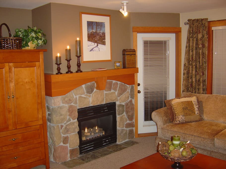 Fireplace powered by natural gas.