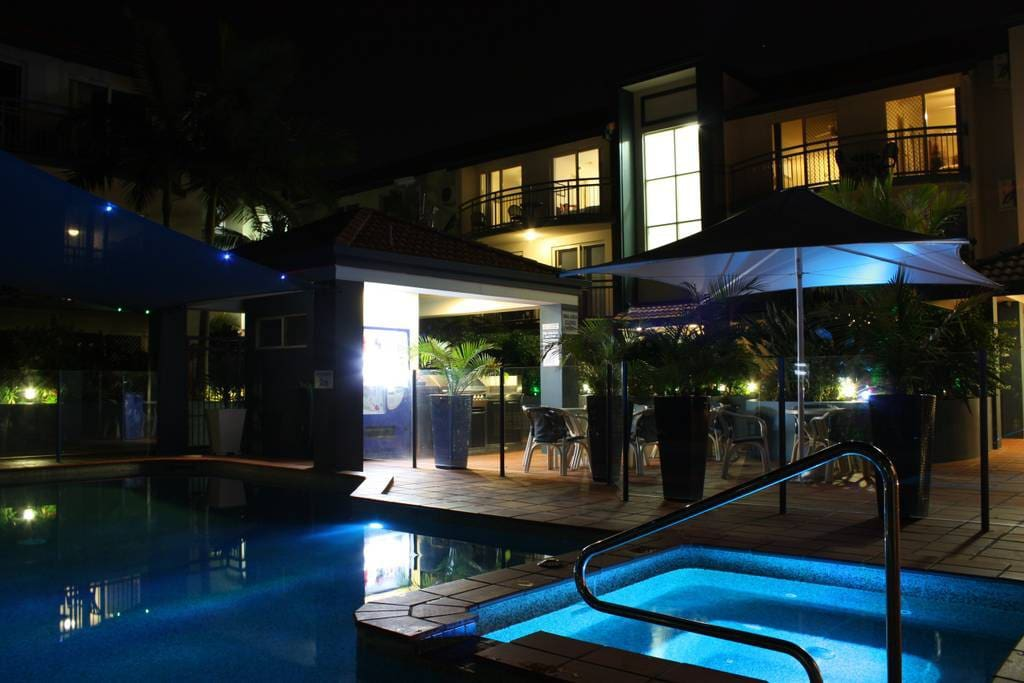 Pool and BBQ at night