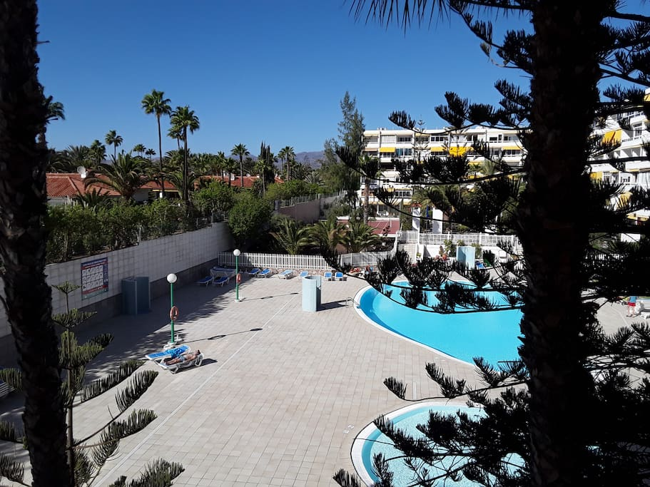 Vista piscina desde apartamento