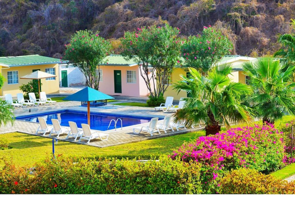 Stay in one of six poolside cabanas