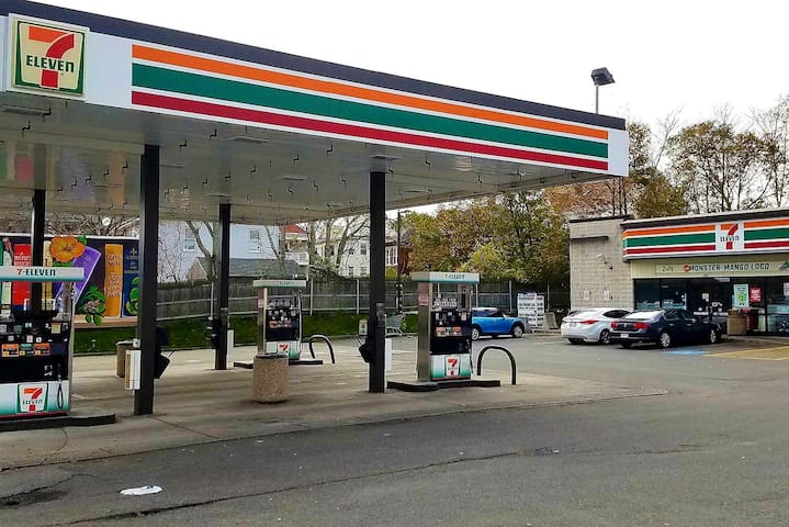 Gas up or grab some food/drinks at the neighborhood 7-Eleven, conveniently located at the entrance of our apartment complex (2-3 min walk).