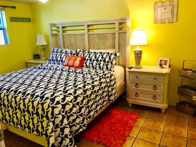 California King bed, bigger even than a regular King! New high end furnishings!