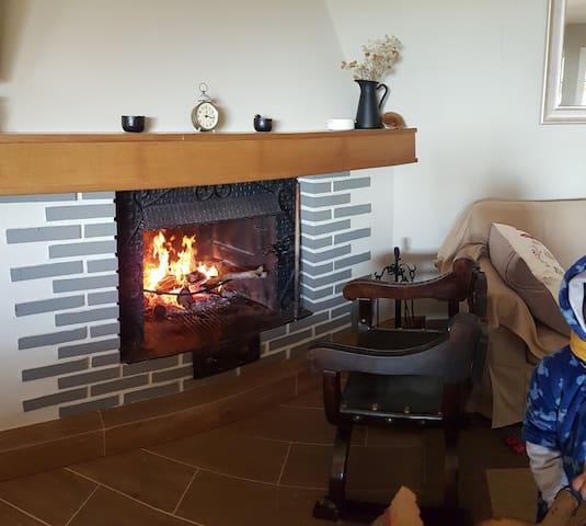 La chimenea encendida