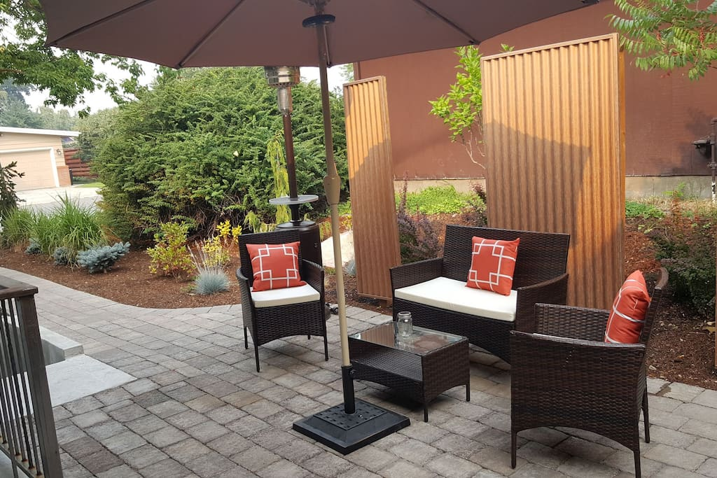 Private patio with gas BBQ and bar.