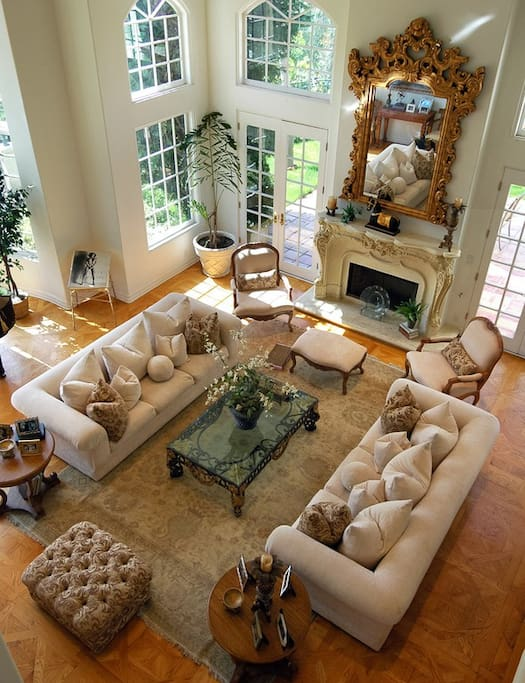 Large Formal living room, with sky high ceilings