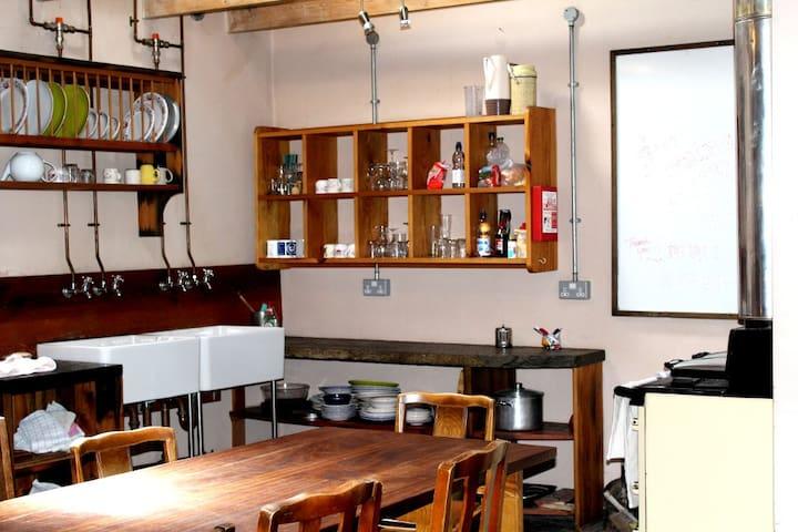 Self catering hostel kitchen