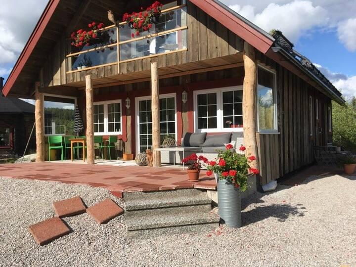 Rymlig och modern stuga i Bjursås med ski-in/out