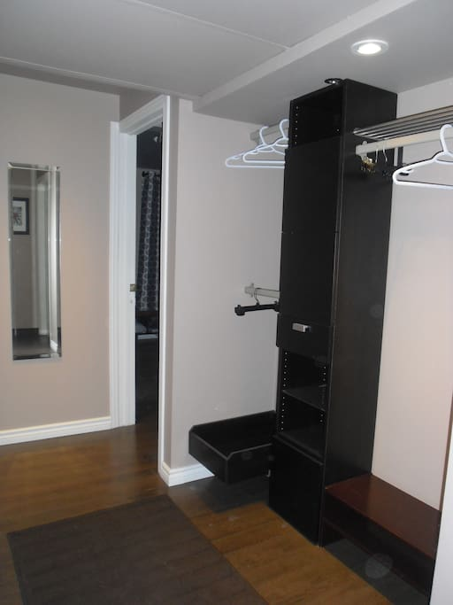 Open closet with mirror in a hallway