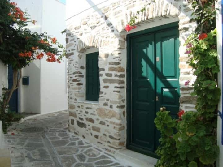 Traditional small cycladic house in the old town