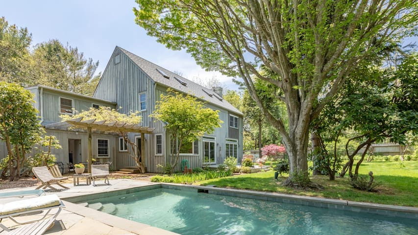 New Listing: Traditional Cedar Saltbox in Southampton w/ Lush, English-Style Gardens, Heated Pool