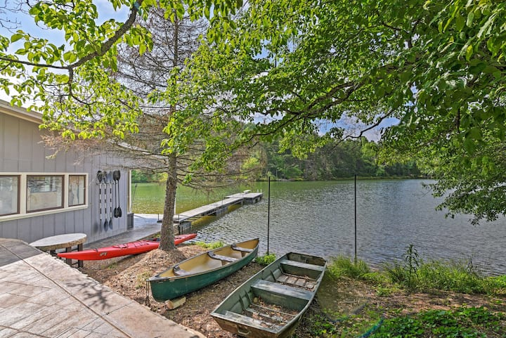 NEW! Lakefront Six Mile Retreat w/ Hot Tub & Dock!