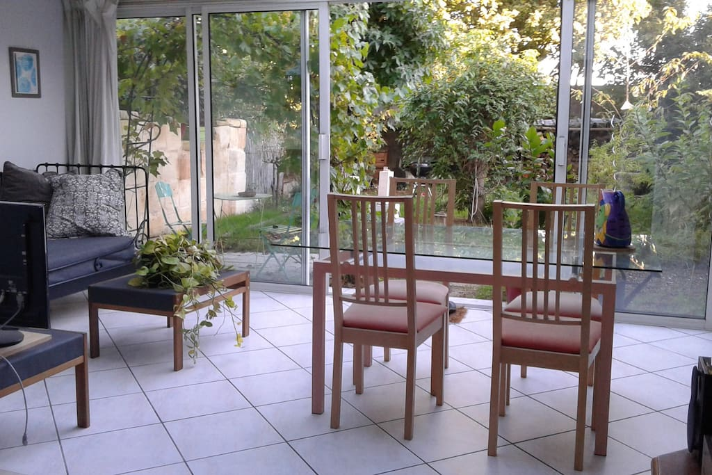 The veranda opening on to the garden