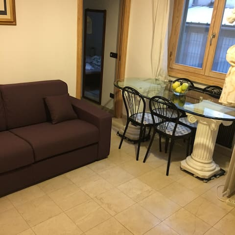 Living room with table on weeks sided by window and couch bed folded