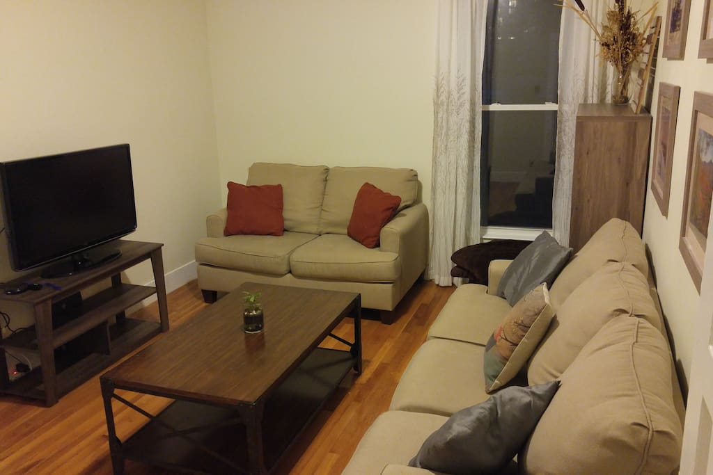 Relaxing living room to come home to after a day in Boston.  Wifi and a Roku (Netflix and Amazon)