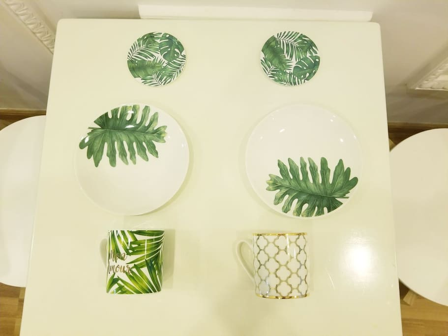 New Tropical Plates and cups (We bought it JAN 2018)