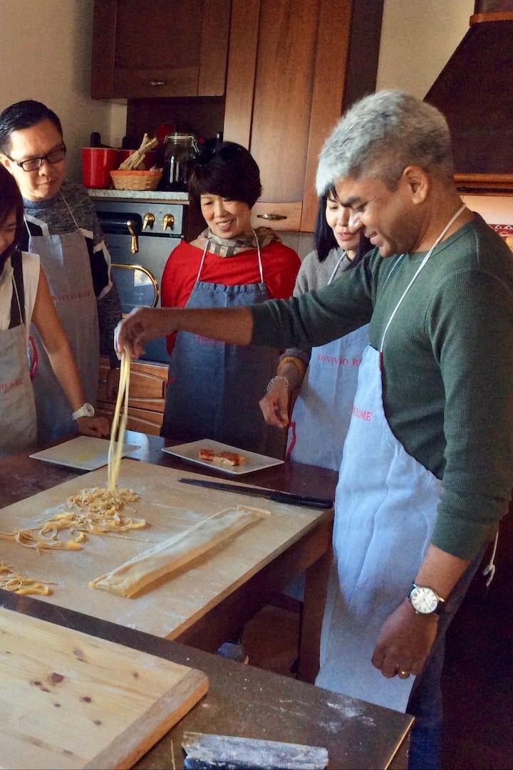 Fun with friends making fresh pasta