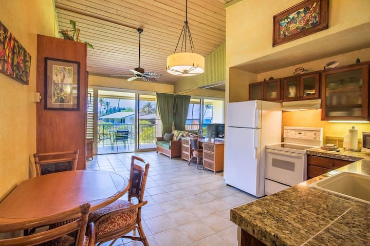 Napili Shores G256 is an upgraded oceanview studio with tile flooring and granite counter tops through out.