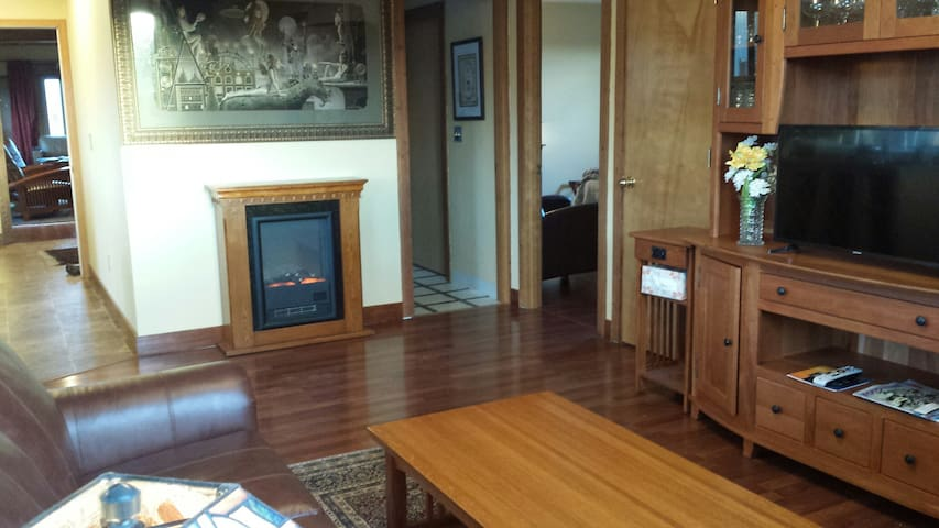 Livingroom with electric fireplace, television, cable, WIFI, and fine art.