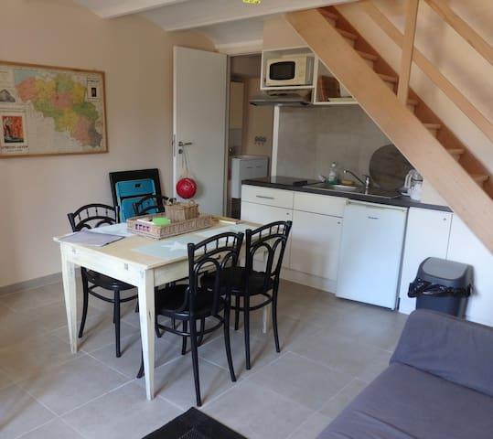 Keuken en eetplaats met links de deur naar de badkamer - kitchen & dining room with the door to the bathroom at the left