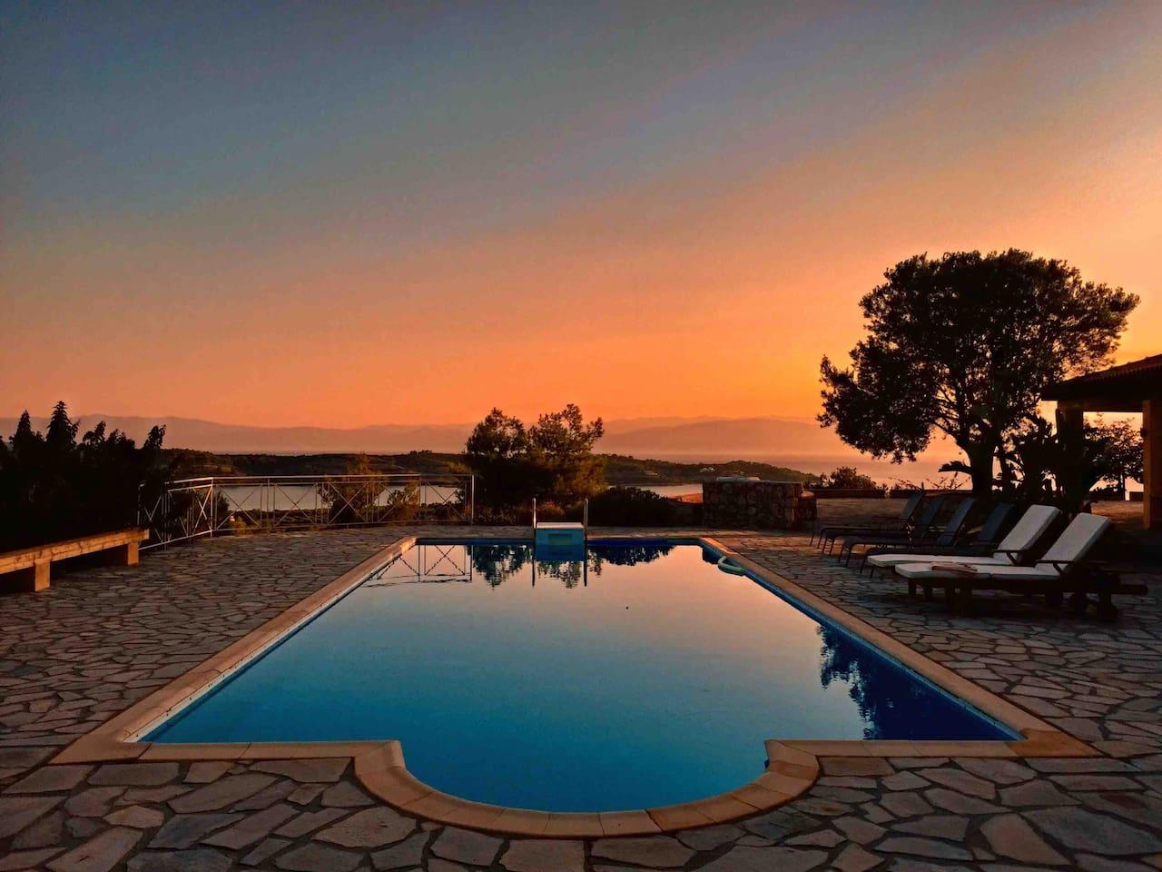 Swimming pool-panoramic view-breathtaking sunset
