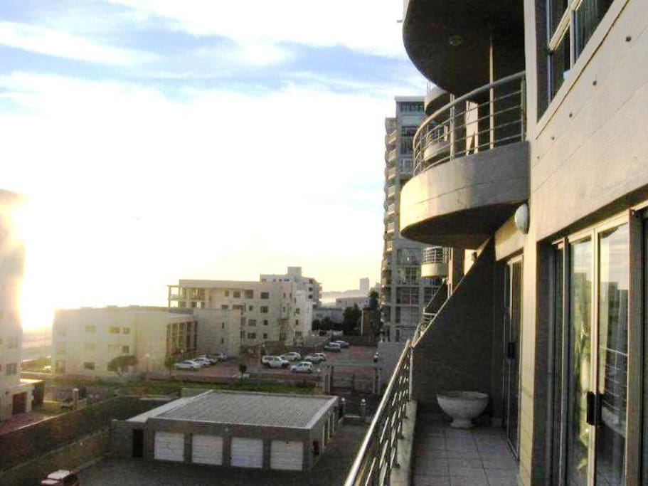 Balcony views of Robben Island and Table Mountan