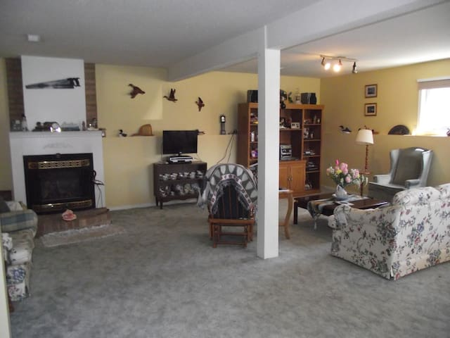Comfortable sitting room, TV/fireplace included