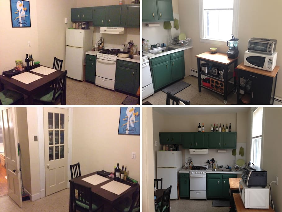 Large kitchen. Table extends and accommodates 6 guests.