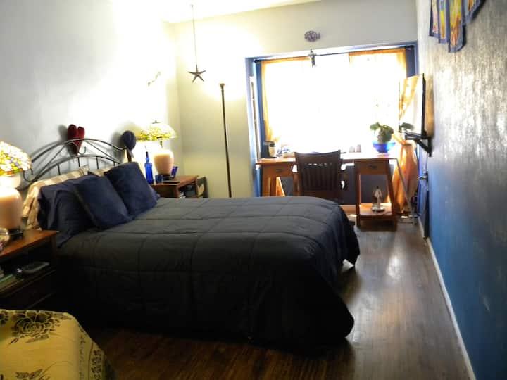 Delightful Blue room, upscale area, fun & cozy