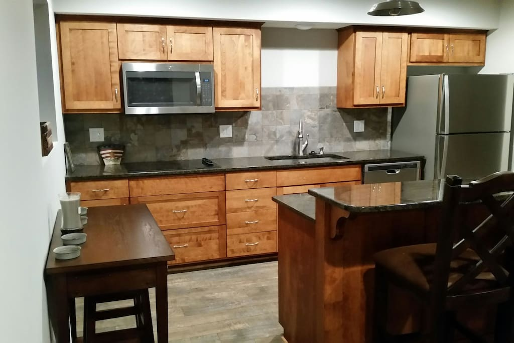 kitchen with island bar seating