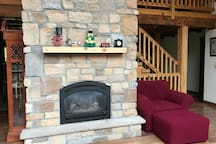 Fireplace ( usually lit during snow days )