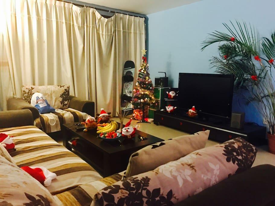 圣诞快乐-公共空间,舒适的沙发聊天或游戏