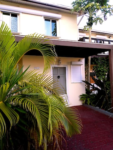The splendid Villa Oasis entrance - pure comfort and relaxation immersed in a lush tropical nature.