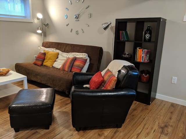 Beautiful bright living space with futon