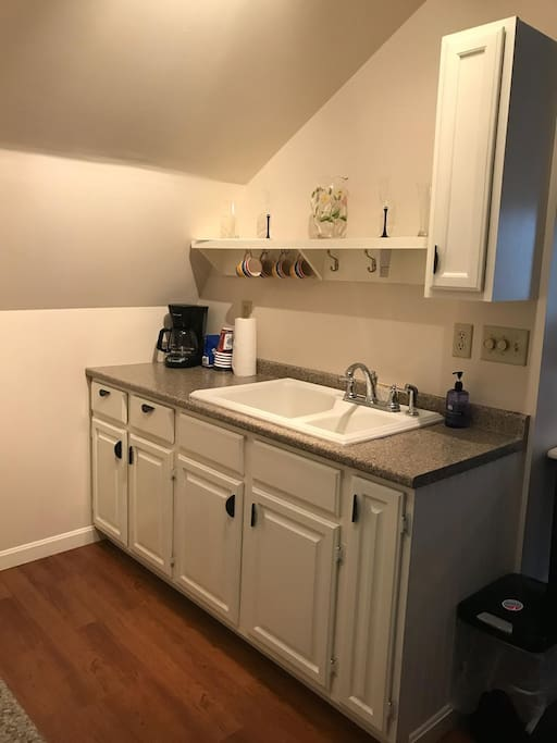 Sink, coffee maker side of kitchen